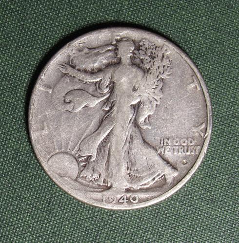 1940P Walking Liberty Silver Half Dollar