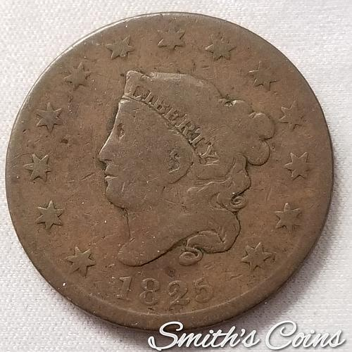 1825 Coronet Liberty Head Large Cent ~ AG+