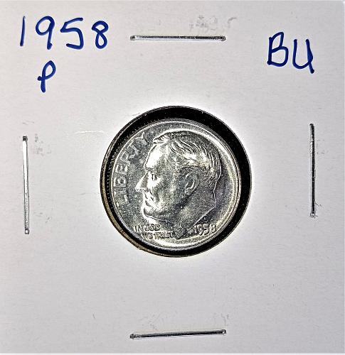1958 P Roosevelt Dime 90% Silver BU