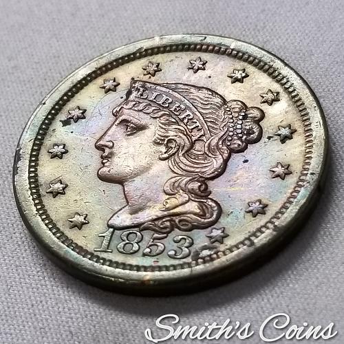 1853 Braided Hair Liberty Head Large Cent ~ XF