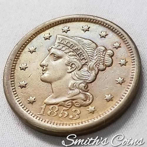 1853 Braided Hair Liberty Head Large Cent ~ AU