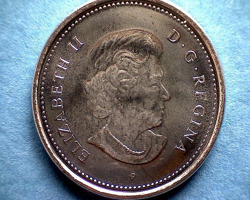 """2006P  CANADA FIVE CENTS QUEEN ELIZABETH 11  """"P"""""""