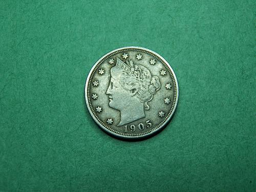 1905 Liberty V Nickel Very Fine Coin   t86