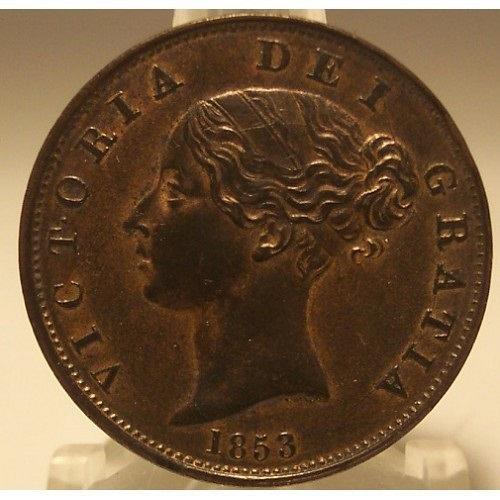 KM #726 1853 Great Britain Half Penny UNC #0673