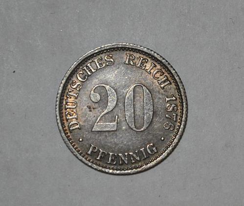 1876 J GERMAN EMPIRE 20 PFENNIG y317