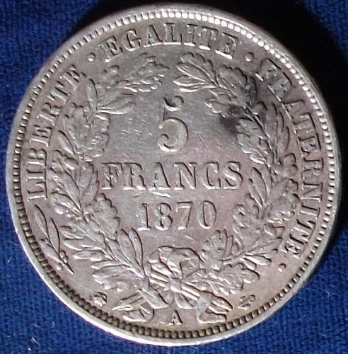 1870A France 5 Francs VF