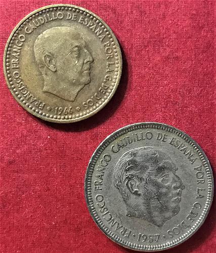 Spain 1966 (1967) - 1 Peseta and 1957 (1968) - 5 Pesetas