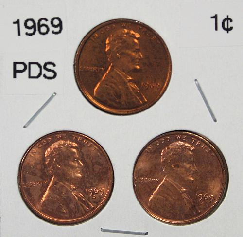 1969 P-D-S Lincoln Memorial Cents