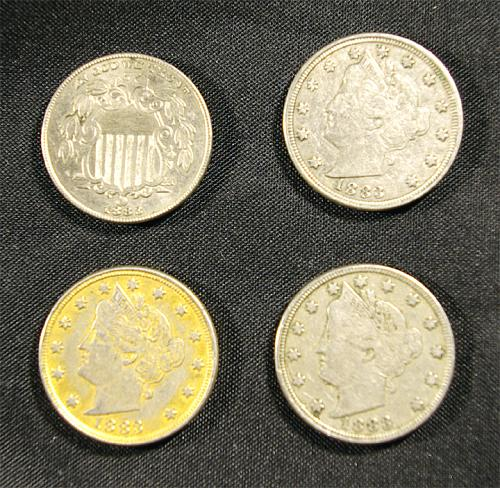 Liberty + Shield Nickels 4 Types of Nickels of 1883
