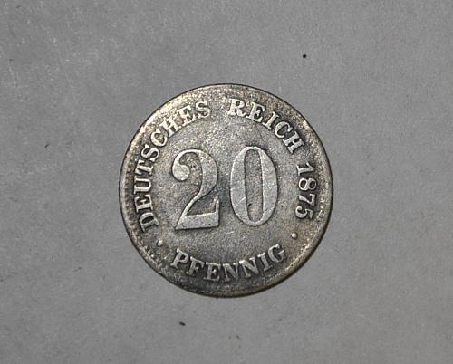1875 g GERMAN EMPIRE 20 PFENNIG y324