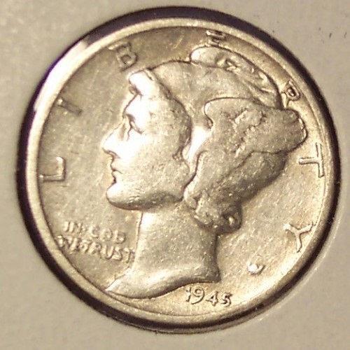 1945 Mercury Silver Dime Fine #0717