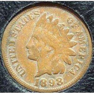 1898 Indian Head Penny Partial Liberty VG #0727