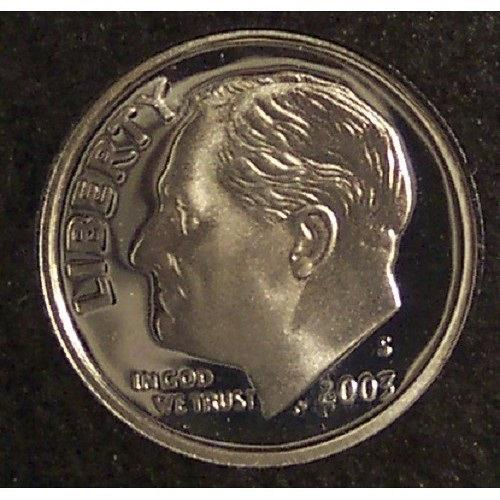 2003-S GEM Proof Cameo Silver Roosevelt Dime #0744