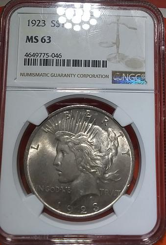 NGC MS 63 1923 Peace Silver Dollar