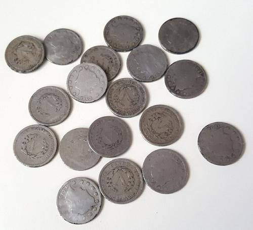 18 V Nickels in storage since before 1945 on old display board. ALL different da