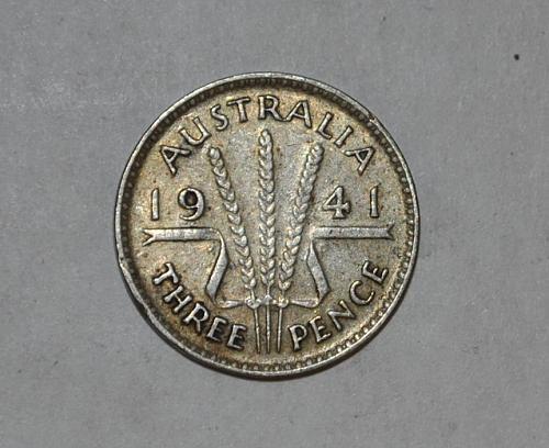 1941 Australia 3 Pence Threepence y366
