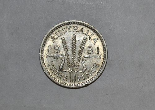 1951 PL Australia 3 Pence Threepence y376
