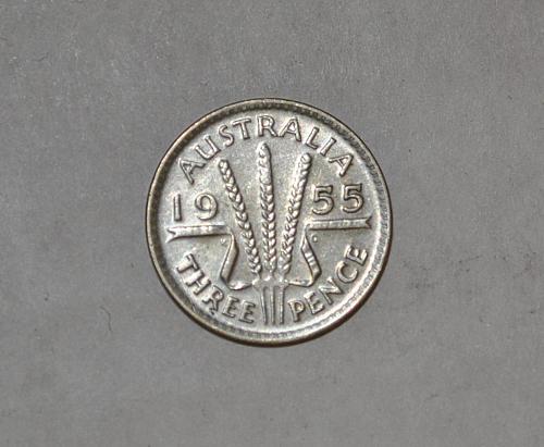 1955 Australia 3 Pence Threepence y380