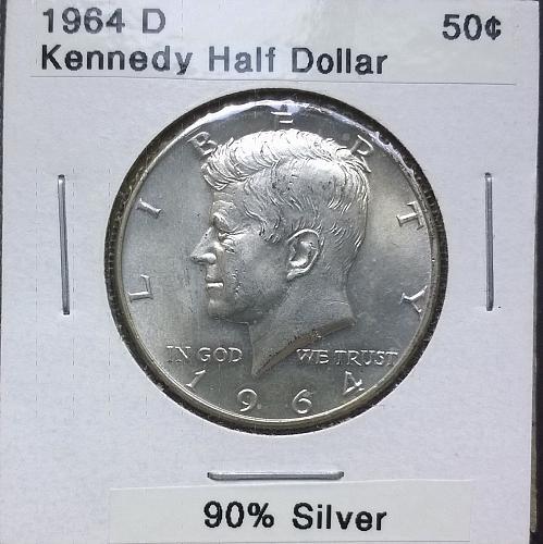 1964 D Kennedy Half Dollar - 4 Photos!