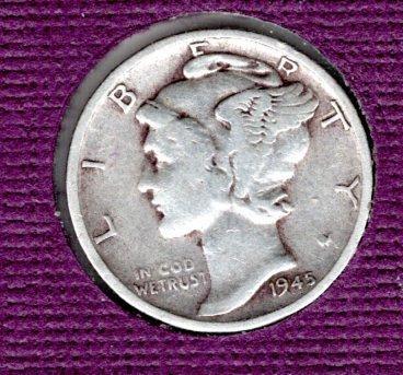 1945 s BU Mercury Dime - #5