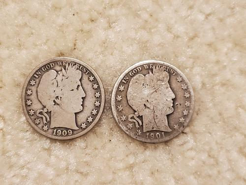 2 Investment Silver Barber Halfs