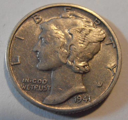 1941 D Mercury Silver Dime (41DAC4)
