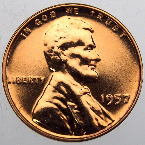 1957 P Lincoln Wheat Cent #15  PROOF Red