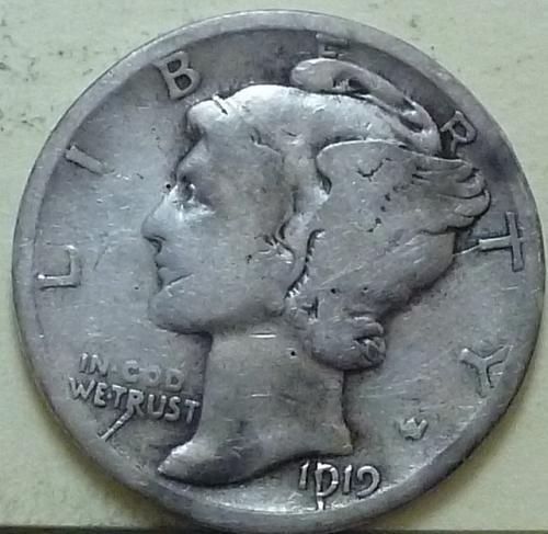 1919-D Mercury Dime  Grades Very Good ( J111)