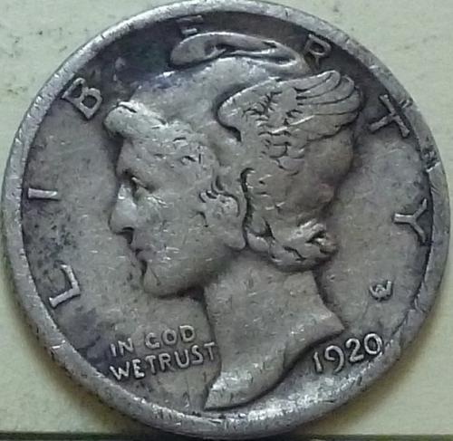1920-D Very Fine Mercury Dime   ( J108)