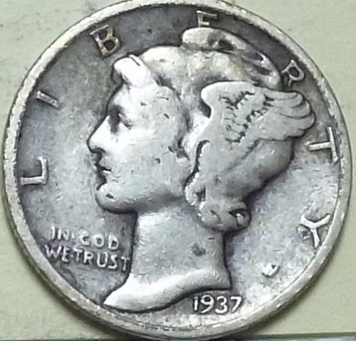1937-S Mercury Dime Grades Fine  ( J169)