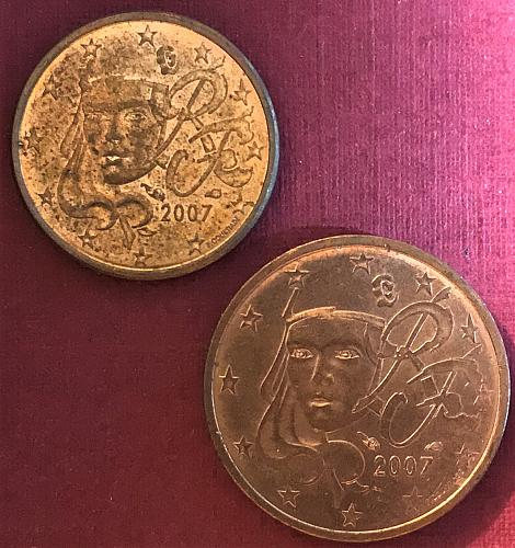 France 2007 - 1 and 2 Euro Cents