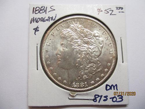 1881-S Morgan Dollar.  Item: DM 81S-03.