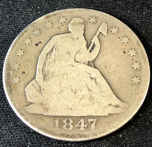1847 Liberty Seated Half Dollar - Circulated