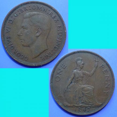 UK Great Britain 1 Penny 1947 KGVI km 845