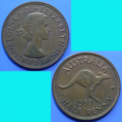 Australia 1/2 Penny 1959 QEII km 61