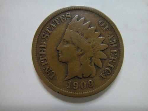1909-S Indian Cent Very Good-10 KEY DATE! Nice Medium Chocolate Brown!