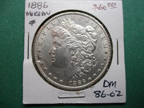 1886 Morgan Dollar.  Item:  DM 86-02.