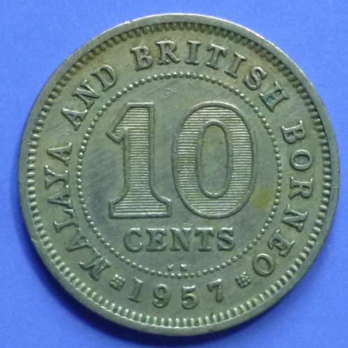 Malaya and British Borneo 10 Cents 1957 kN km 2