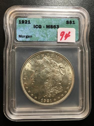 1921 MORGAN DOLLAR ICG MS-63 - UNCIRCULATED - CERTIFIED SLAB - LAST YEAR OF ISSU