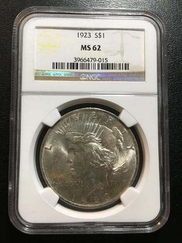 1923 P PEACE DOLLAR NGC MS-62 - UNCIRCULATED - CERTIFIED SLAB - SILVER DOLLAR