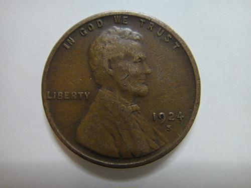 1924-S Lincoln Cent Very Fine-25 Nice Clean Nearly Mark Free Surfaces!