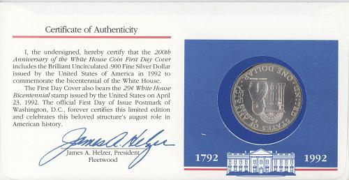 1 Dollar 1992 D. US. 200 yr of the WH anniversary. Silver
