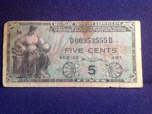 Military Payment Certificate Series 5 Cents
