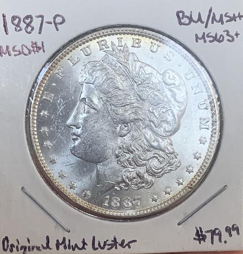 "1887-P Beautiful Choice BU/MS+++ ""CWLuster"" Morgan 90% Silver Dollar - Semi"