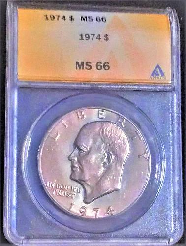 1974 MS-66 Ike Dollar NGC--Beautiful pastel metallic toning