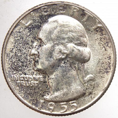 1955 P Washington Quarter#15 TONED