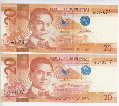 20 Peso 2014 and 2019 Philippines. Notes are in BU condition.