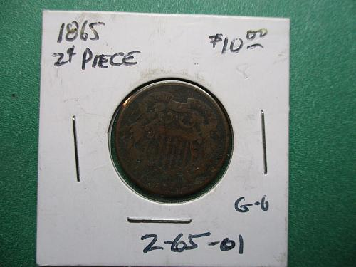1865 Two Cents.  Item: 2 65-01.