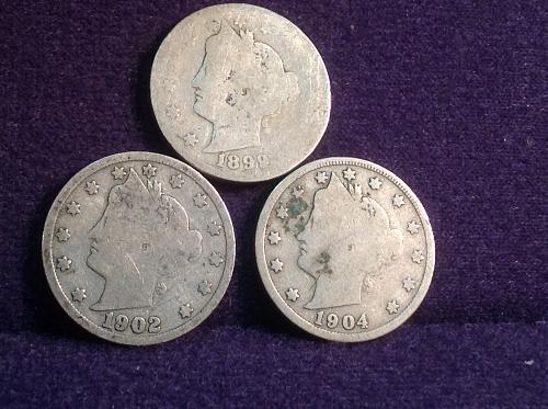 3 Old Liberty V Nickels