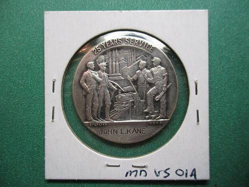 US Steel Corporation 25 Years Service Medal.  Sterling Silver.  Item: MD US-01.